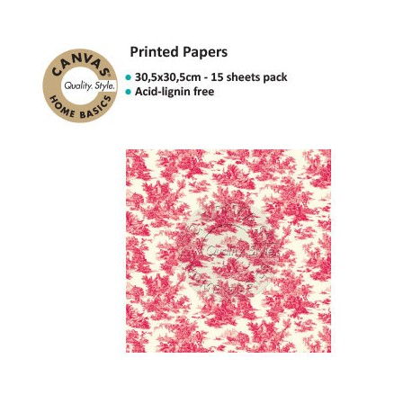 CANVAS CORP PRINTED PAPER RED IVORY TOILE