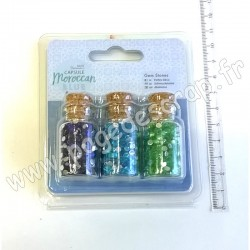 DOCRAFTS PAPERMANIA GEM BOTTLES CAPSULE MOROCCAN BLUE 3 pièces