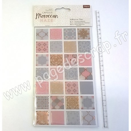 DOCRAFTS PAPERMANIA ADHESIVE TILES CAPSULE MOROCCAN HAZE 56 pièces
