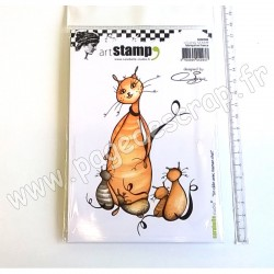 CARABELLE STUDIO CLING STAMP A6  UN CALIN AVEC MAMAN CHAT