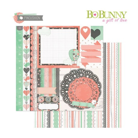 BO BUNNY PINCUSHION PATCHWORK PAPER