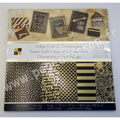 AMERICAN CRAFTS DCWV INDIGO KRAFT & CHAMPAGNE 30.5 cm x 30.5 cm 24 feuilles
