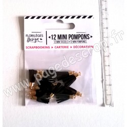 FLORILEGES DESIGN 12 MINI POMPONS CARBONE