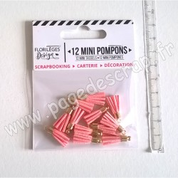 FLORILEGES DESIGN 12 MINI POMPONS ROSE THÉ