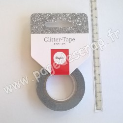 RAYHER GLITTER TAPE ARGENT 8 mm x 5 m
