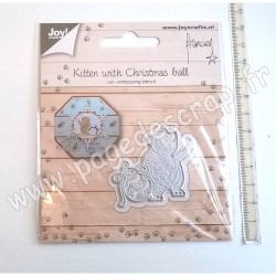 JOY!CRAFTS CUTTING & EMBOSSING KITTEN WITH CHRISTMAS BALL