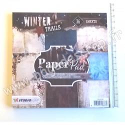 STUDIO LIGHT PAPER PAD 15 cm x 15 cm 200g WINTER TRAILS N°97