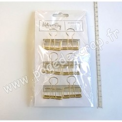 WEST DESIGN BINDER CLIPS - METALLIC MONO 6 pièces