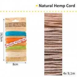 HEMP CORD 1.33MMX9.1MX4 ASS. VERIGATED