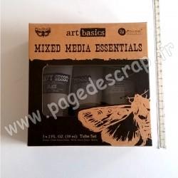 PRIMA MARKETING ART BASICS MIXED MEDIA ESSENTIALS GESSO BLACK, CLEAR, WHITE 59ml