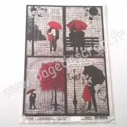 CIAO BELLA PAPIER DE RIZ A4  LOVE IS AN UMBRELLA
