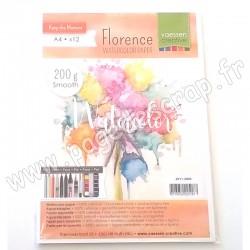 FLORENCE PAPIER AQUARELLE 200 g A4   x12 feuilles