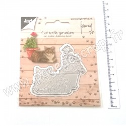 JOY!CRAFTS DIE CUTTIING AND EMBOSSING CAT WITH GERANIUM
