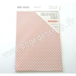 TONIC STUDIOS CRAFT PERFECT FOILED KRAFT CARD A4 x5 280g ROSE GOLD TRIANGLES