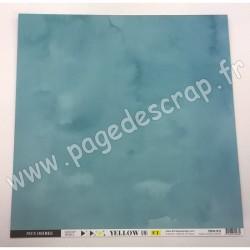 FLORILEGES DESIGN COLLECTION YELLOW PAPIER UNI BLEU CANARD 30.5 cm x 30.5 cm