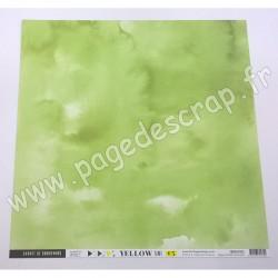 FLORILEGES DESIGN COLLECTION YELLOW PAPIER UNI VERT FEUILLAGE 30.5 cm x 30.5 cm