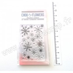 CHOU & FLOWERS COLLECTION SOUFFLE D'HIVER TAMPONS CLEAR FOND FLOCONS
