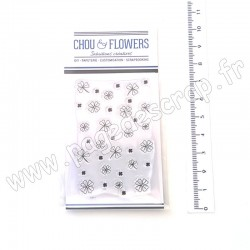 "CHOU & FLOWERS COLLECTION CARTE POSTALE TAMPON CLEAR ""FOND TRÈFLES"""