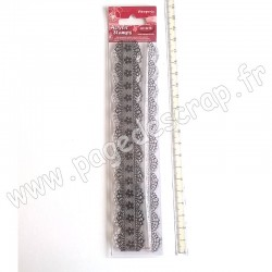 STAMPERIA TAMPON CLEAR DOUBLE LACE WITH FLOWER DECORATION