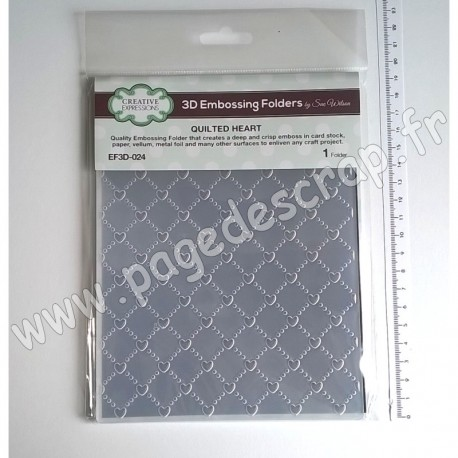 EF3D-024   CREATIVE EXPRESSIONS EMBOSSING FOLDER3D QUILTED HEART 190mm x 145mm