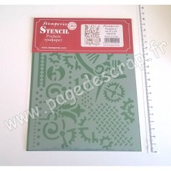 KSD278   STAMPERIA POCHOIR STENCIL GEARS AND HANDS 20 cm x 15 cm