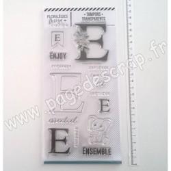 FDCL220005   FLORILEGES DESIGN TAMPON CLEAR À LA LETTRE E