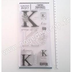 FDCL220011   FLORILEGES DESIGN TAMPON CLEAR À LA LETTRE K