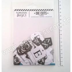 FDDC220001   FLORILEGES DESIGN DIE-CUTS ÉTIQUETTES ALPHABET BLANC NOIR (x 56 pièces)