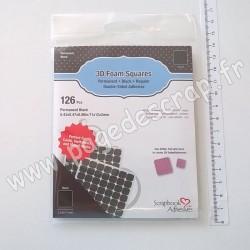 01611   SCRAPBOOK ADHESIVES 3D FOAM SQUARES BLACK (mousse 3D carrés noirs)  x126 pièces 11x12x2mm