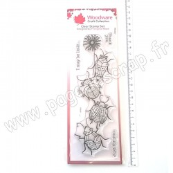 FRS397   CREATIVE EXPRESSIONS TAMPON CLEAR WOODWARE BEETLE FLOWER