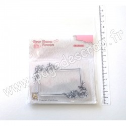 FLO019   NELLIE'S CHOICE TAMPONS CLEAR RECTANGLE FRAME WITH ROSES