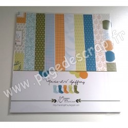 MARIE LN GEFFRAY COLLECTION OCTOBRE 10 papiers recto 30.5 cm x 30.5 cm