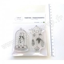 T0720-NO28   COMPTOIR DU SCRAP TAMPONS TRANSPARENTS CLOCHE OURS