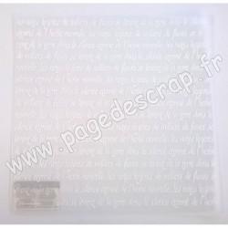 SBBP004   STAMPERIA FEUILLE PLASTIQUE SEMI TRANSPARENTE ÉCRITURE 30cm x 30cm