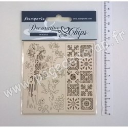 SCB02   STAMPERIA DECORATIVE CHIPS FLOWERS AND TALE 9.5cm x 9.5cm
