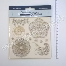 SCB13   STAMPERIA DECORATIVE CHIPS ARCTIC 14cm x 14cm