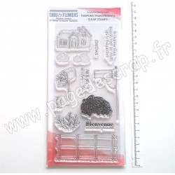 COT125   CHOU & FLOWERS COLLECTION ESPRIT COTTAGE TAMPONS CLEAR COUNTRYSIDE