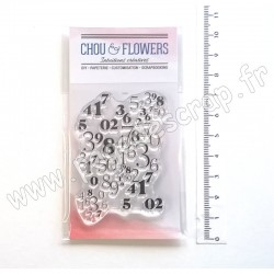 COT137   CHOU & FLOWERS COLLECTION ESPRIT COTTAGE TAMPONS CLEAR NUMÉROS