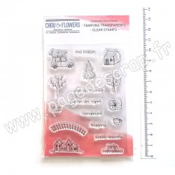 COT149   CHOU & FLOWERS COLLECTION ESPRIT COTTAGE TAMPONS CLEAR ICONE PLAN