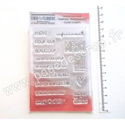 COT150   CHOU & FLOWERS COLLECTION ESPRIT COTTAGE TAMPONS CLEAR THANK YOU