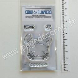 LUN125   CHOU & FLOWERS COLLECTION DANS LA LUNE TAMPONS CLEAR DOUDOU CANCER
