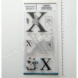 FDCL220026   FLORILEGES DESIGN TAMPON CLEAR À LA LETTRE X