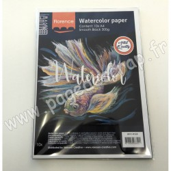 2911-9123   FLORENCE PAPIER AQUARELLE SMOOTH BLACK 300 g A4  x10 feuilles