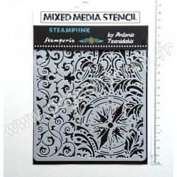 KSAT15   STAMPERIA POCHOIR MIXED MEDIA SIR VAGABOND WALL PAPER AND COMPASS 15 cm x 20 cm