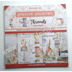 SBBL88   STAMPERIA ROMANTIC COLLECTION THREADS10 feuilles R/V 30.5 cm x 30.5 cm 190 gr