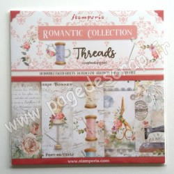 SBBS36   STAMPERIA ROMANTIC COLLECTION THREADS10 feuilles R/V 20.3 cm x 20.3 cm 190 gr