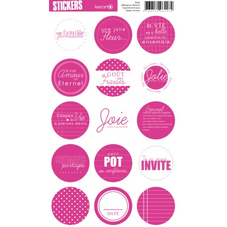 STICKERS RONDS FUSCHIA