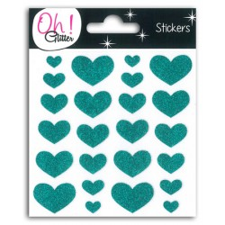 24 COEURS GLITTER TURQUOISE