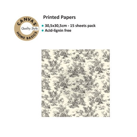 CANVAS CORP PRINTED PAPER BLACK IVORY TOILE