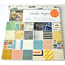 AMERICAN CRAFTS PAPER PADS CRATE PAPER BOYS RULE 48 feuilles 30,5 cm x30,5 cm